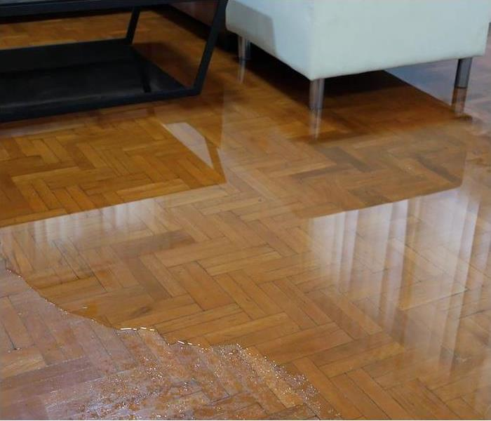 Hardwood floor flooded with water